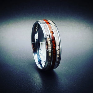 Koa Wood & Double Deer Antler Inlay Tungsten Ring (8mm)