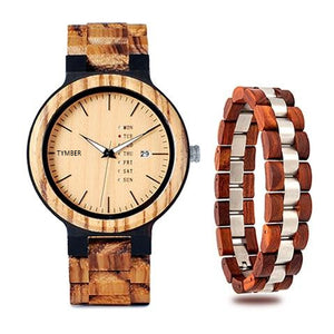 Wooden Watch & Bracelet Set.