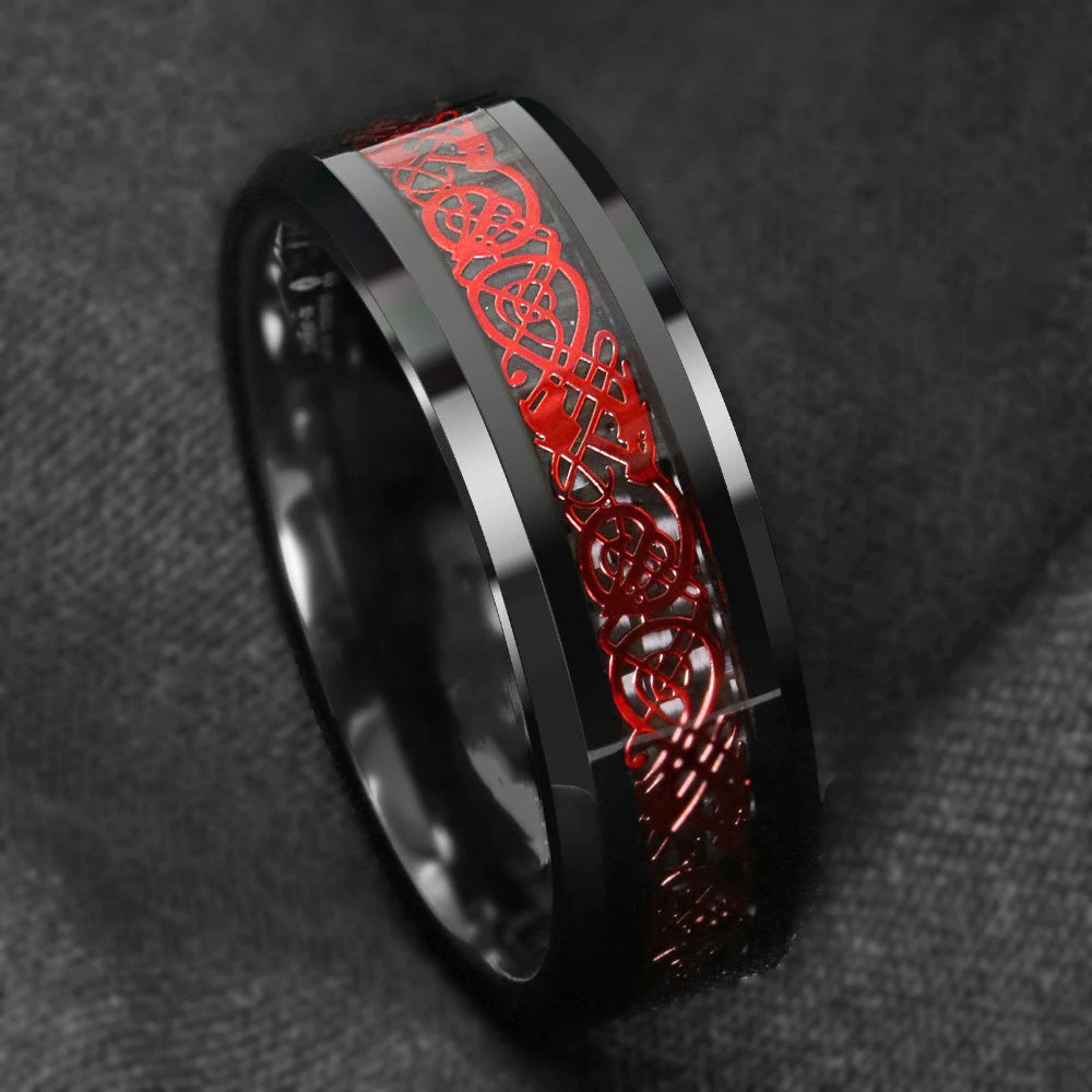 Red Celtic Dragon Black Tungsten ring (8mm)