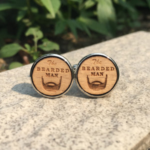 The Bearded Man Cufflinks Laser Engraved Wood.