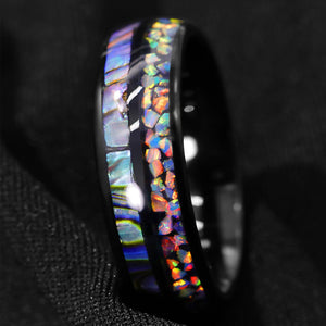 Hawaiian Opal & Abalone Tungsten Ring (8mm).