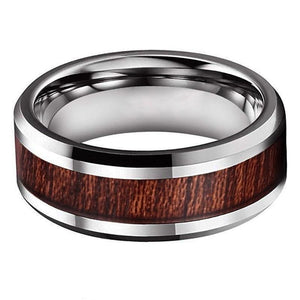 Beveled Silver Tungsten & Wood Ring