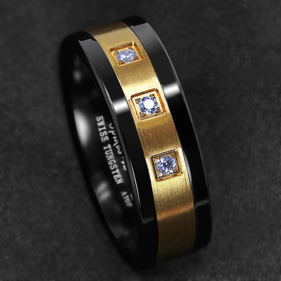 Black Tungsten & Brushed Gold Inlay with Cubic Zirconia Ring (8mm)