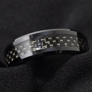Black Tungsten & Carbon Fiber Ring (8mm)