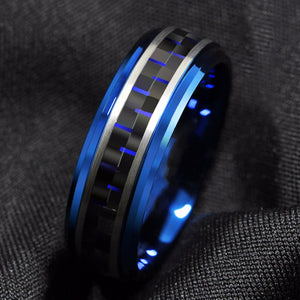 Black & Blue Tungsten & Carbon Fiber Ring (8mm)