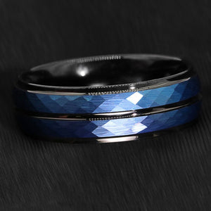 Blue Brushed Crystal Pattern Inlay & Black Tungsten Ring (8mm)