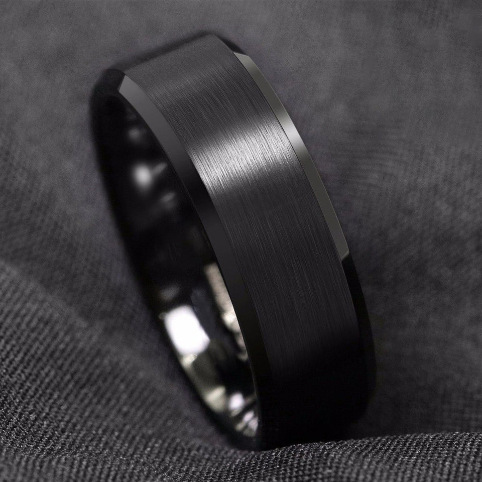 Classic Brushed Black Tungsten Ring (8mm)