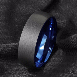 Brushed Blue & Black Tungsten ring (8mm).