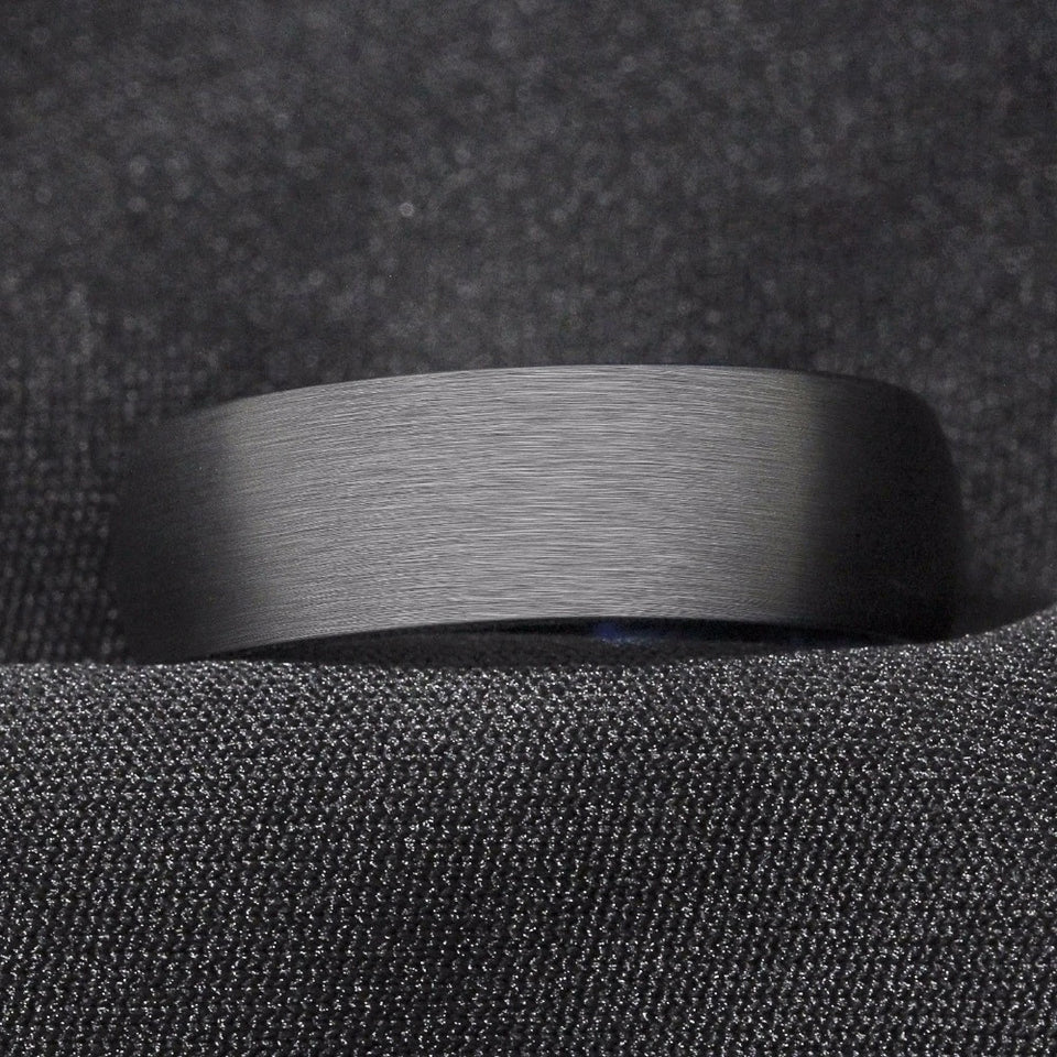 Brushed Blue & Black Tungsten ring (8mm)