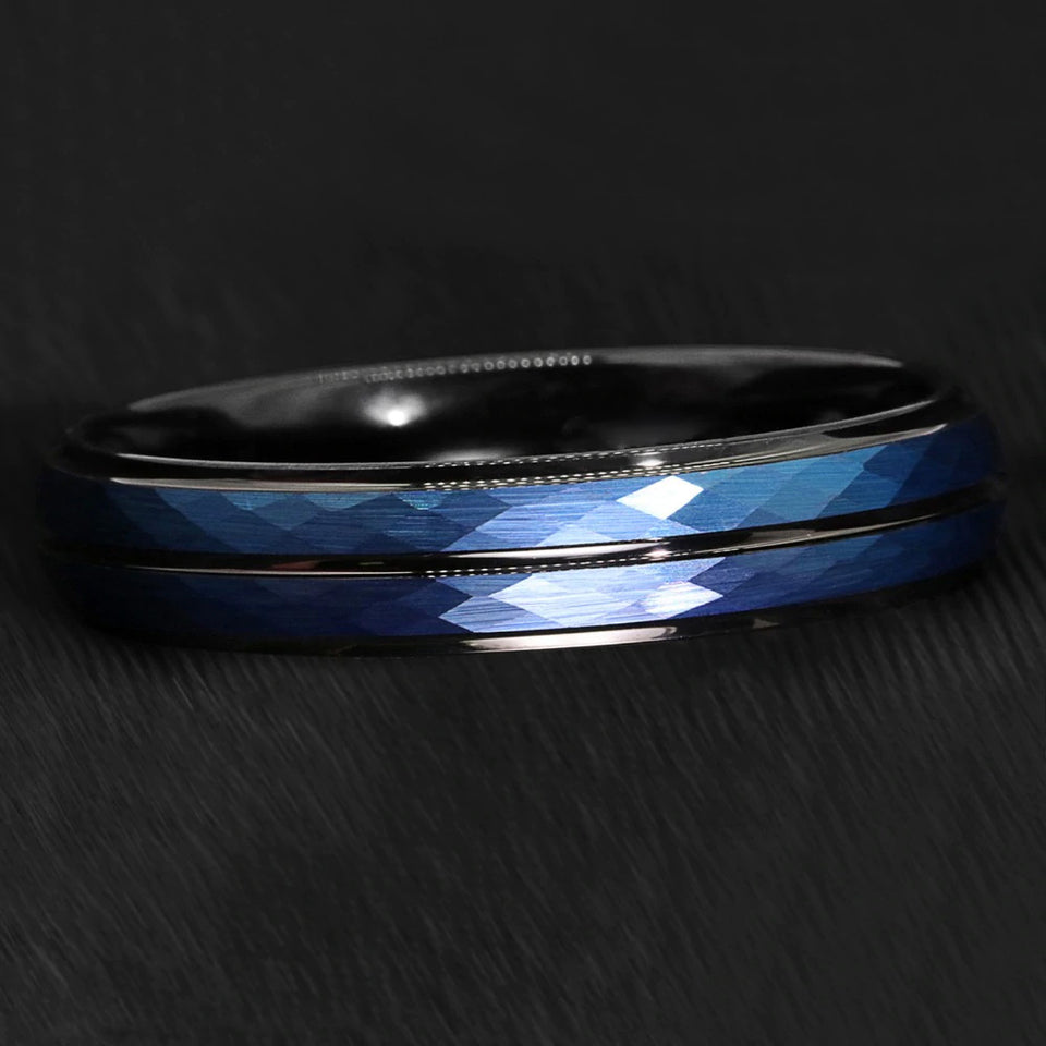 Blue Brushed Crystal Pattern Inlay & Black Tungsten Ring (6mm)