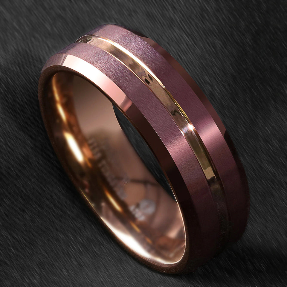 Brushed Brown Tungsten with Gold Inlay Ring (8mm)