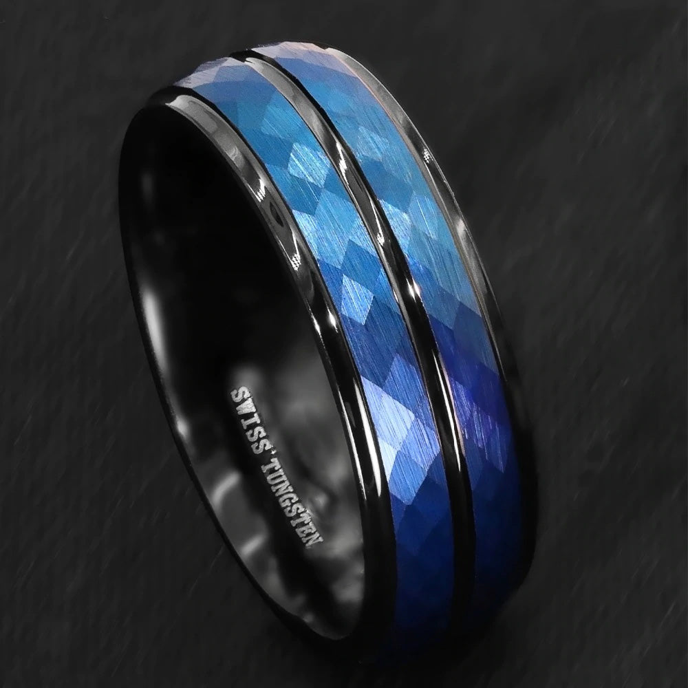 Blue Brushed Crystal Pattern Inlay & Black Tungsten Ring (8mm).