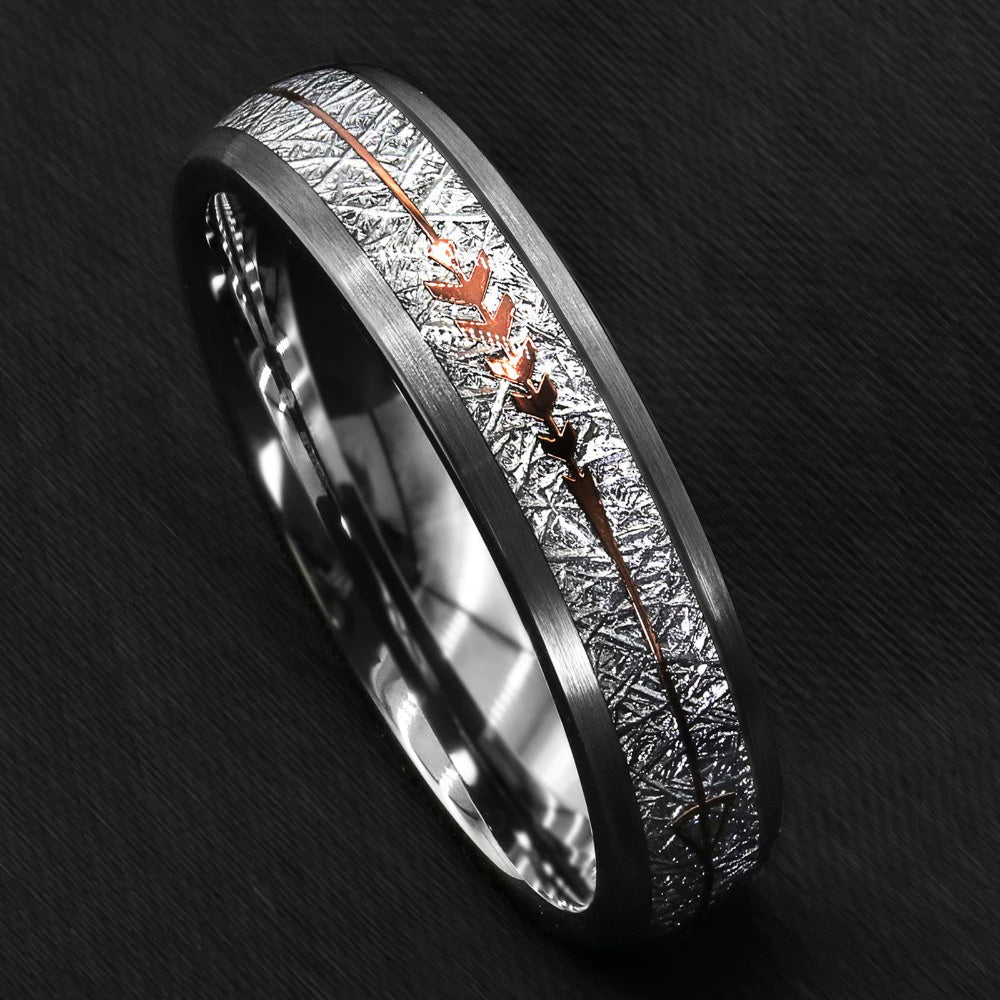 GRAY BRUSHED TUNGSTEN WITH SILVER & ROSE GOLD ARROW INLAY RING (6MM)
