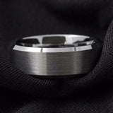 Brushed Silver Center + High Polish Edge Tungsten Ring (8mm)