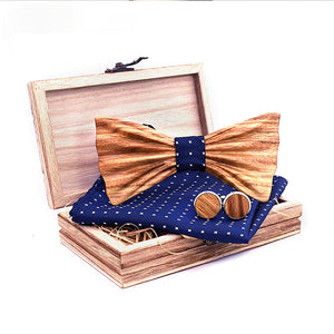 Byron Wooden Bow Tie Set.