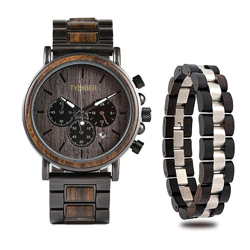 Colorado Wooden Chronograph & Bracelet Gift Set (Mens).