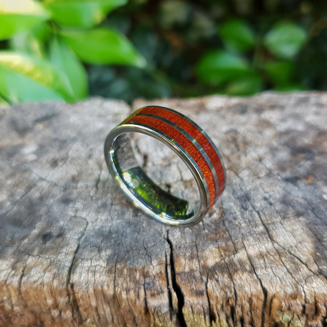 Double Wood Striped Tungsten Ring (8mm)