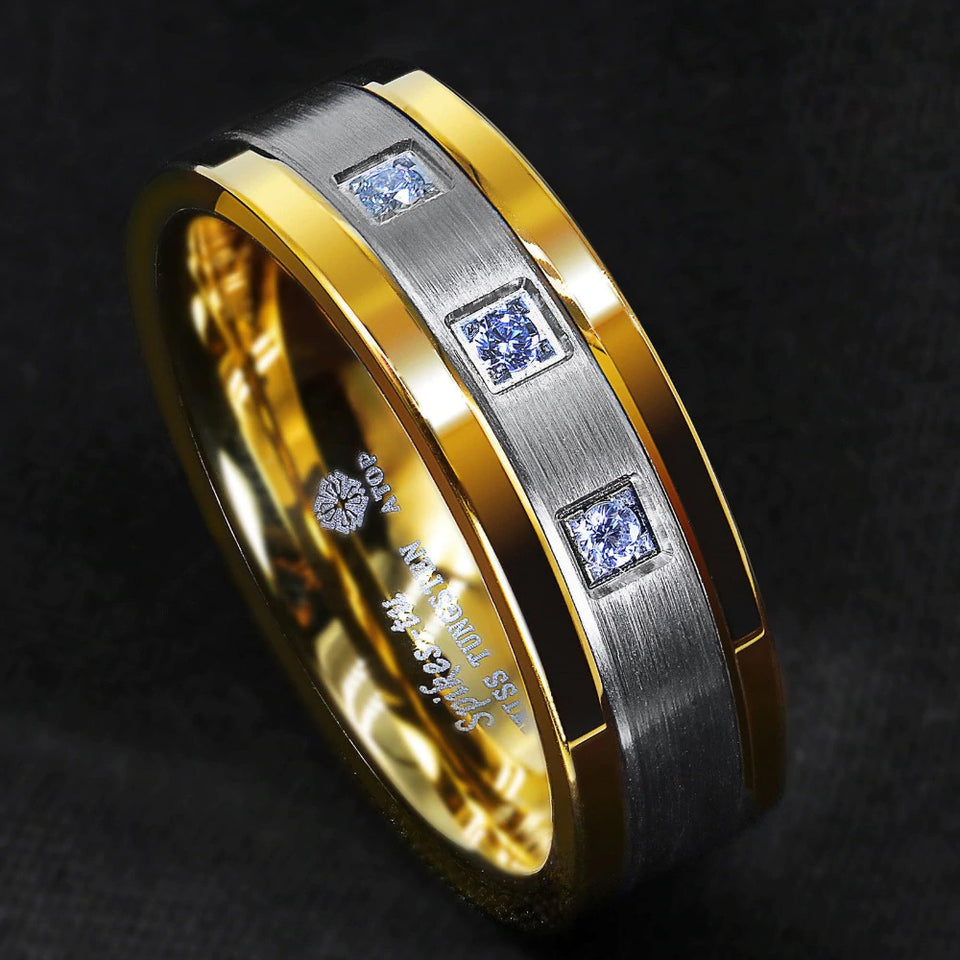 Gold, Silver & Cubic Zirconia Tungsten Ring (8mm)