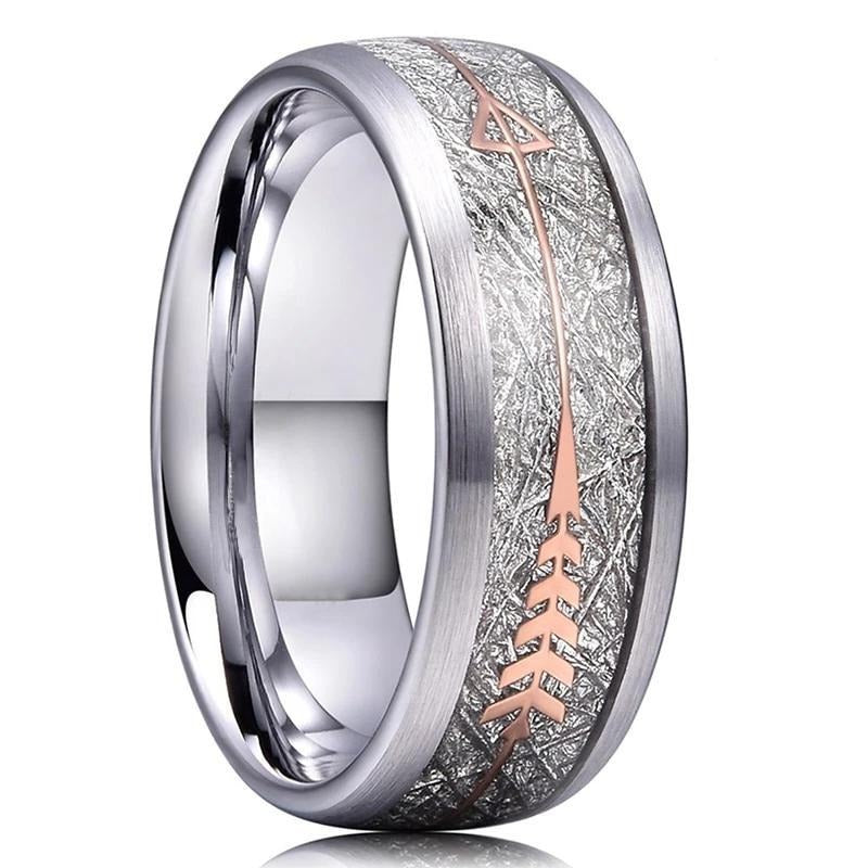 GRAY BRUSHED TUNGSTEN WITH SILVER & ROSE GOLD ARROW INLAY RING (8MM)