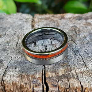 Koa Wood & Tungsten Statement Ring