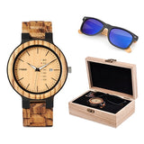 Mens Wood Watch & Sunglasses Gift Set (Personalised Box)