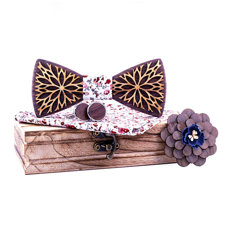 Nova Wooden Bow Tie Set.