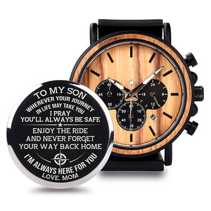 Personalised Chronograph Wooden Watch.