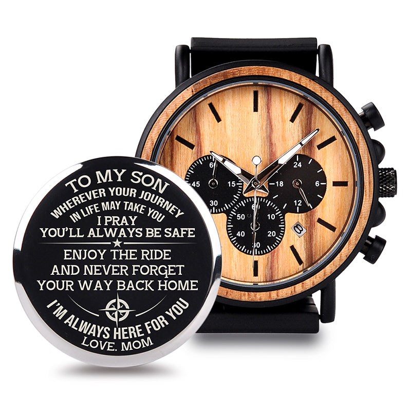 Personalised Chronograph Wooden Watch