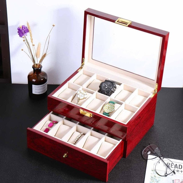 Luxury 20 Grid Wooden Watch Storage Box