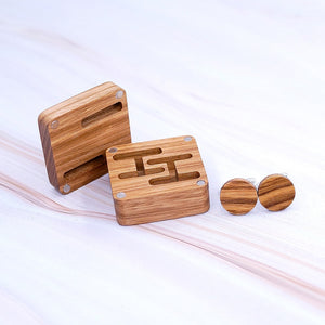 Luxury Wood Cufflinks with Unique Magnetic Wood Box