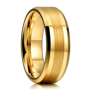 Beveled Edge & Brushed Centre Finish Gold Tungsten Ring (8mm/6mm)