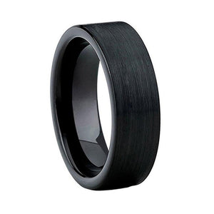 Brushed Black Straight Edge Tungsten Ring (8mm).