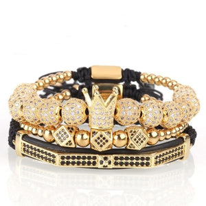 Crown, Bead and Cubic Zirconia Stainless Steel Gold Bracelet