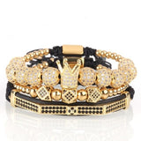 Crown, Bead and Cubic Zirconia Stainless Steel Gold Bracelet.