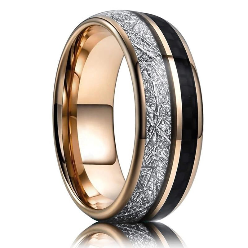 Rose Gold Tungsten Ring with Silver Meteorite & Black Carbon Fiber Inlay (8mm).