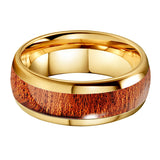 Yellow Gold & Wood Inlay Tungsten Ring (8mm).