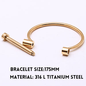 Screwed Titanium Steel Cuff Bracelet