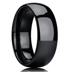 High Polish Black Tungsten Domed Ring (8mm).