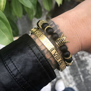 Crown, Beads & Roman Numeral Stainless Steel Gold Braclet.