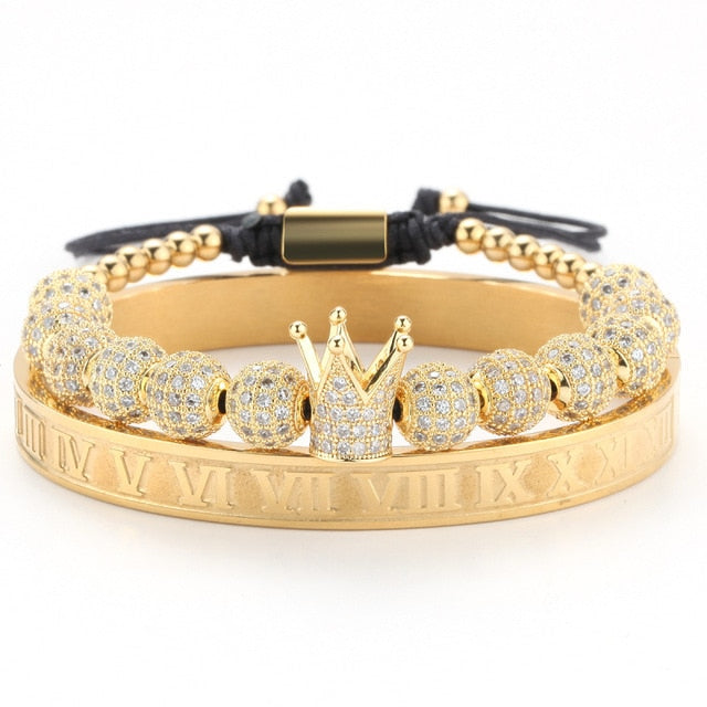 Crown, Beads & Roman Numeral Stainless Steel Gold Braclet