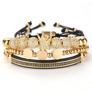Crown & Circle Stainless Steel Gold Bracelet.