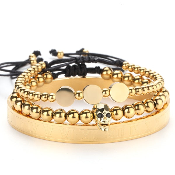 Circle, Skull and Roman Numeral Stainless Steel Gold Bracelet.