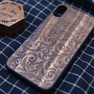 Walnut Wood & Flower Engravings iPhone Case.