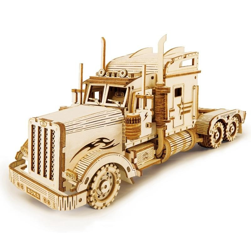 American Heavy Truck DIY Moveable Wooden Model (286 Pieces)