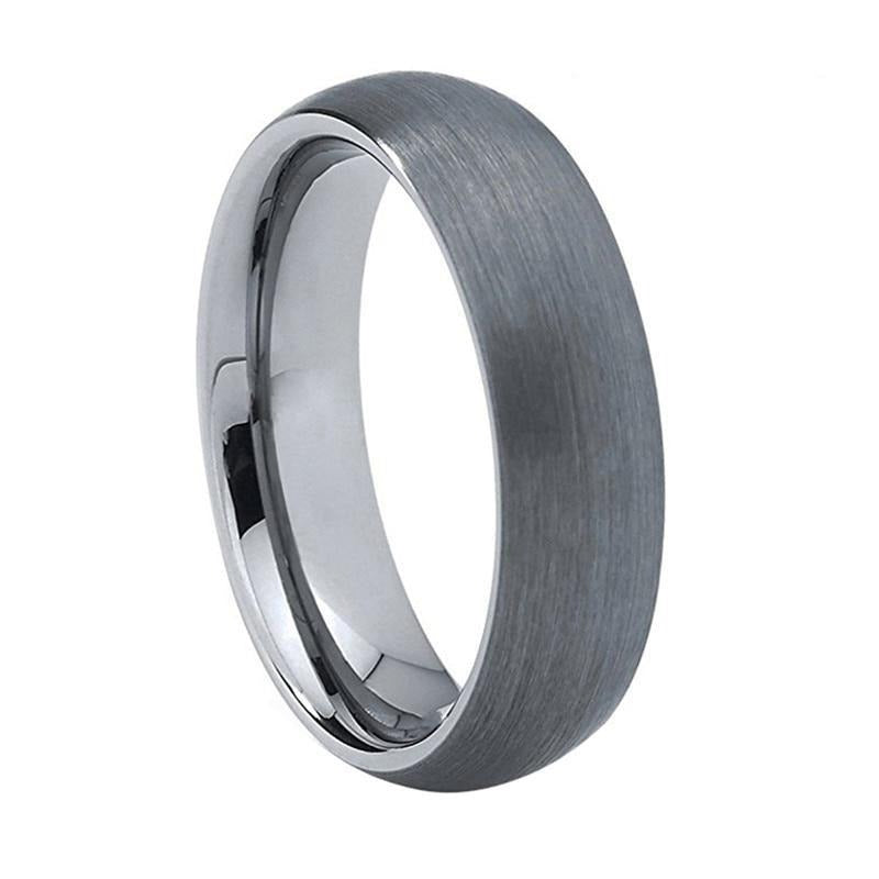 Classic Brushed Silver Tungsten Ring (6mm).