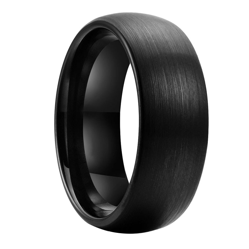 Brushed Black Dome Tungsten Ring (8mm).