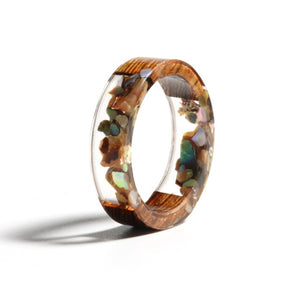 Wood & Flower Resin Ring
