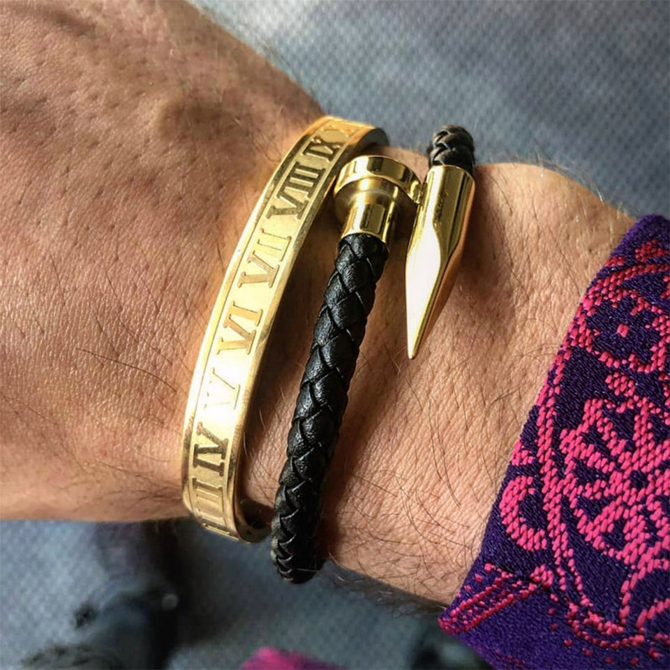 Roman Numerals & Braided Pin Stainless Steel Gold Bracelet.