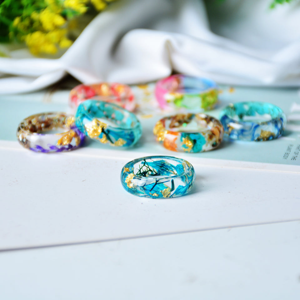 Gold Foil, Flowers & Rock Dome Resin Rings