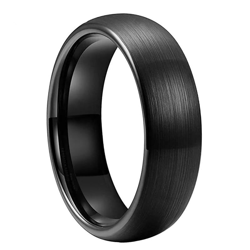 Brushed Black Dome Tungsten Ring (6mm).